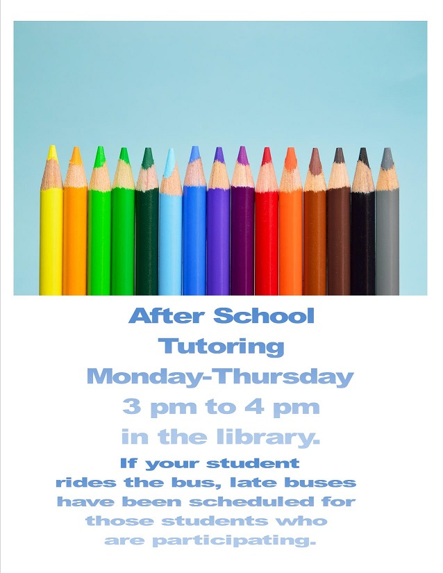 After school tutoring from Monday through Thursday 3 pm to 4pm